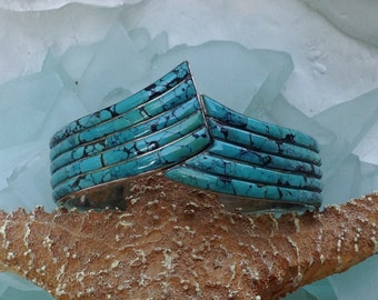 CAVIAR DREAMS Vintage Sterling Silver Turquoise Inlay Modern Hinged Cuff Bangle Bracelet - Etsy andersonhs