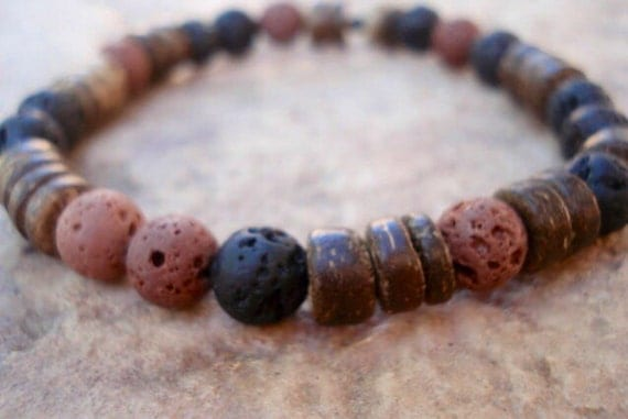 Lava Bracelet, Brown Lava Bracelet, Coconut Wood Bracelet, Wood Bracelet, Stackable Bracelet, Beaded Bracelet, Bracelet Men, Men Jewelry