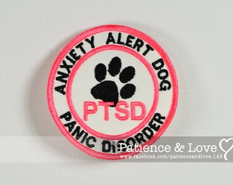 1 Patch, Sew-on, 3 inch round, Anxiety Alert Dog, PTSD, Paw print, Panic Disorder, sew on patch for service dog, working dog