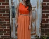 Vintage Orange & Peach Maxi Dress