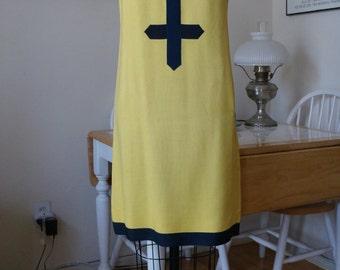 Vintage 1960s Mod Dress / Shannon Rodgers Dress Jerry Silverman / Space Age Dress / Linen Dress w/ Geometric Ribbon Trim / Yellow & Black SM