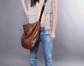 Brown leather bag - soft leather purse SALE  leather hobo bag - leather tote leather shoulder bag crossbody leather handbag