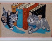 Retro Kitsch Kittens Cat and Books Gravel Rock Art Wall Hanging Vintage Home Decor