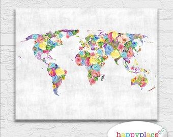Large blue world map wall art map poster 16x20in map boys floral feminine abstract printable world map art watercolor flower colorful bright and happy wall gumiabroncs Choice Image