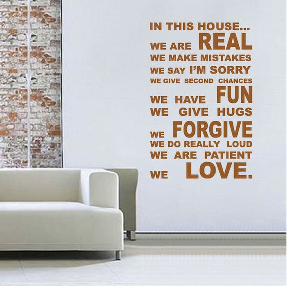 Living room wall quote decal wall quote by trendywalldesigns for Living room quote stickers