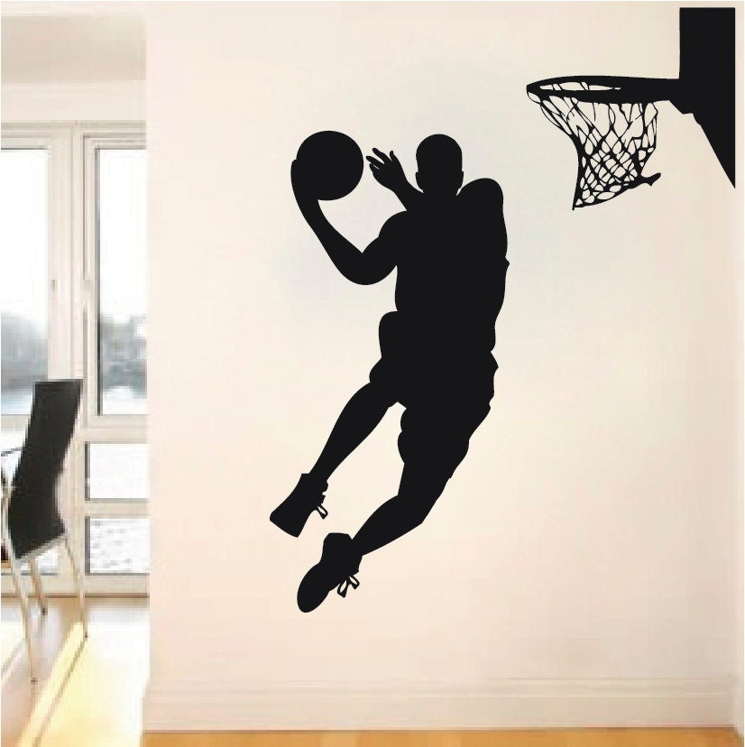 Basketball player wall decal jump shoot loop by for Basketball wall decals