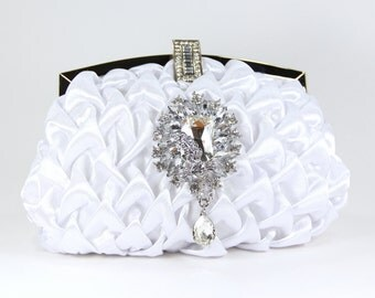White Satin Evening Bag with Swarovski Crystal accent - White Satin Purse - Bridal Clutch - Wedding Purse