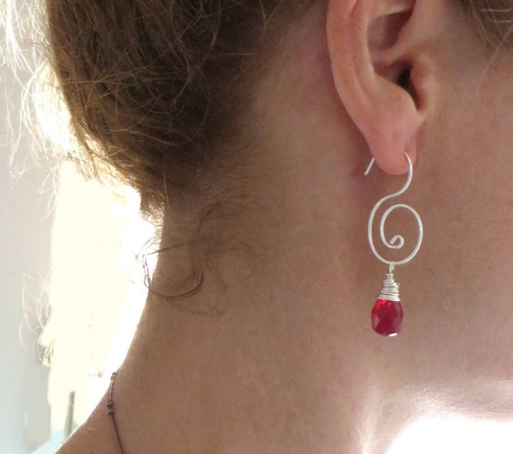 Sterling Silver Double Spiral Hoop earrings Coils Spiral Wire Wrapped Beaded Crystal