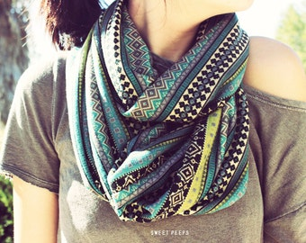 Tribal Aztec Printed Scarf, Large Scarf,Woman's Gift, Fashion Scarf, Infinite Scarf, Hipster Scarf, Bohemian Accessories