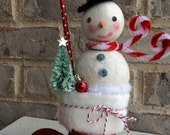 Peppermint Wishes Glitter Clay Top Hat Snowman Decoration with Bottle Brush Tree Let it Snow