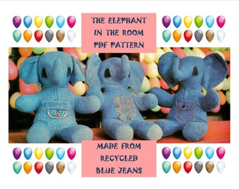 Digital Download Adorable Recycled Blue Jean Stuffed Elephant Pattern - Vintage Stuffed Animal PDF Pattern Sewing Supplies Craft Supplies