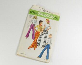 Simplicity 9069 - Vintage 1970 Misses Set of Slim-Cut Hip-Hugger Bell-Bottom Pants Pattern in Size 12