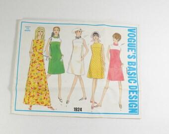 Vogue Basic Design 1924 - Vintage 1960s Misses One-Piece Dress Pattern in Size 12