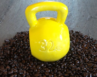 Handmade Yellow Kettlebell Coffee Mug 16 or 24 oz ~ Ceramic Mug ~ Fitness
