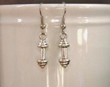 Silver barbell earrings, weight training earrings, lifting weights earrings, fitness earrings, athlete, metal charm, dangle, nickel free