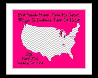 True Friendship Personalized Birthday Gift Ideas For Best Friend Custom Quote Map Keepsake Miss You BFF Bestie Leaving Present Art Print