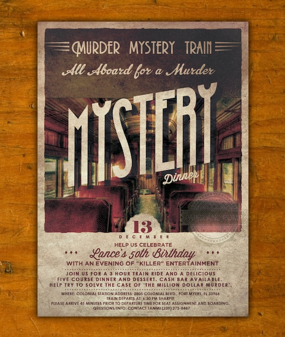 Murder Mystery Dinner Sheet Free: Vintage Murder Mystery Dinner Train Birthday By PaperandPomp