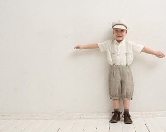 Ring bearer outfit Wedding party outfit Family photo prop Newspaper boy clothing Boys linen suit Boys knickers Page boy outfit