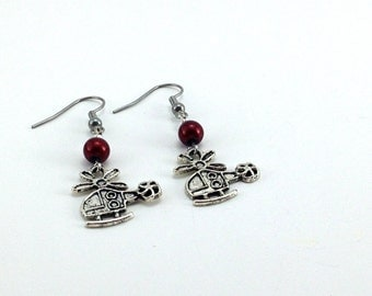Fifty shades earring Charlie Tango, red acrylic and stainless steel.
