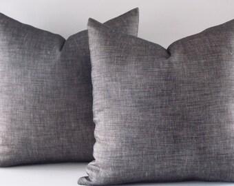 Two Linen Pillow Cover, Black Linen Pillow,Cushion Linen, Decorative Pillows