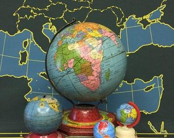 "Vintage 6"" Tin Litho World Globe"
