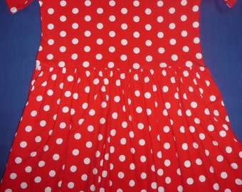 Polka dot red and white dress