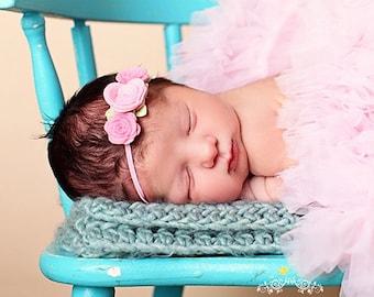 Baby Headband , Small Felt Three Rose Headbands - pick your colors