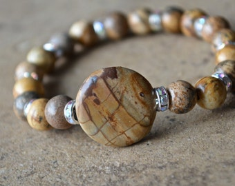 Brown Jasper beaded bracelet with silver rhinestones, stretch stackable, semiprecious jewelry, positive energy