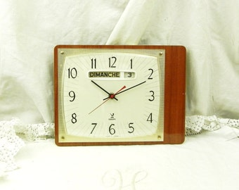 Large Working Vintage Mid Century French Wooden Formica Wall Clock / French Mid Century Decor / Retro Vintage Home / Interior Design / Time