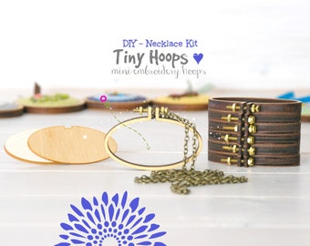 DIY Necklace Kit - Mini Embroidery Oval Hoop Frame with Necklace - 62mm x 34mm Oval Hoop - Miniature Oval Embroidery Hoops - DIY Necklace