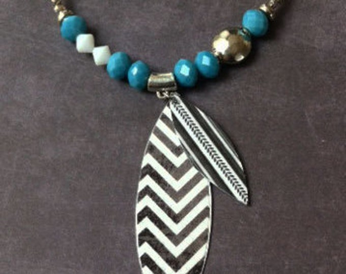 Boho Necklace - tribal- paper jewelry -paper necklace - leaf necklace -gift for her -asymmetric necklace -geometric jewelry- turquoise beads