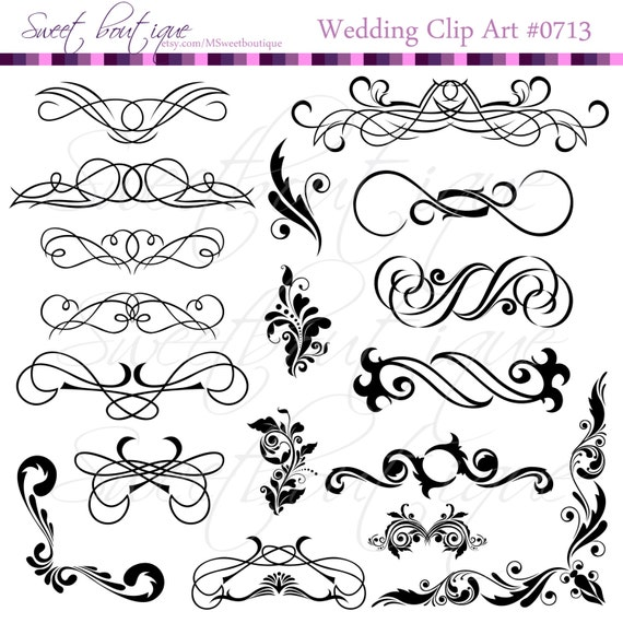Black calligraphy clip art clipart diy wedding invitation