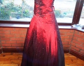 red satin taffeta gown boned shaped corset top prom bridesmaid all lined