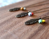 feather necklace - choose colors - czech glass beads 18""