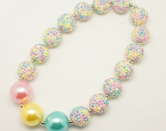 Chunky necklace Girls gumball bubblegum birthday toddler spring pastel