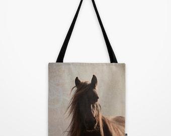 horse bag, totebag, horse on a bag, tote, photo bag, brown bag, shopping bag, equine photo