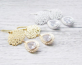 CLEARANCE Silver Gold Chrysanthemum Earrings Choose Your Finish Rhodium Matte Gold Hammered Frame Cubic Zirconia Bridal Bridesmaid Wedding