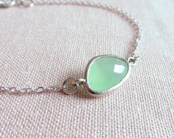 Mint Green Bracelet, Pastel Glass Stone, Dainty Jewelry, Minimalist