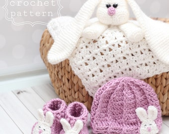 PDF crochet pattern- Bunny newborn gift set- hat booties and security blankie