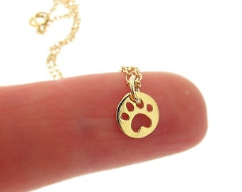 Gold Paw print Necklace / Tiny Dog Paw Print Charm / Delicate Jewelry / Pet Charm Necklace / Minimalist Necklace / Necklace Bracelet Set