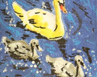 Swans blue acrylic tempera print