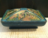 Stunning Teal Box, 1920s Confection Tin, Antique Tin Box, Garden Scene, Gardening Gift, Tapestry Art, Basket Weave, Pedestal, Floral Flower
