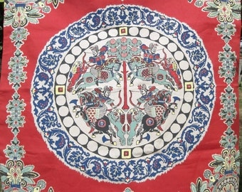 Retro Wall Hanging Silk Screened Art Work Warrior Mandala Japanese 90s