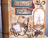 Premade scrapbook, Explorer's Journal, Steampunk, Vintage theme, 8x8, Ink distressing, embossing, 3D elements, botanical, flaps & pull outs