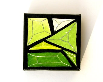 Emerald City Geometric Gem 4 x 4 Oil Painting