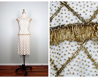 60s Gold Beaded Dress • Retro Mod Embellished Harlequin Dress • Gold Fringe Beaded Shift Dress
