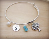 Personalized Initial Tree of Life Swarovski Crystal Freshwater Pearl Silver Adjustable Bangle Bracelet / Gift for Her