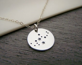 Dainty Sterling Silver Zodiac Virgo Constellation Necklace / Gift for Her