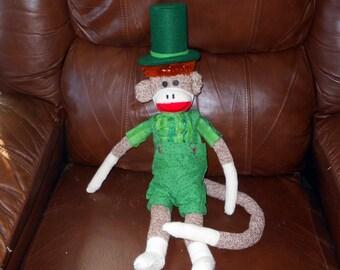 St. Patrick's Day Sock Monkey Doll Primitive Leprechaun Handmade @LootByLouise