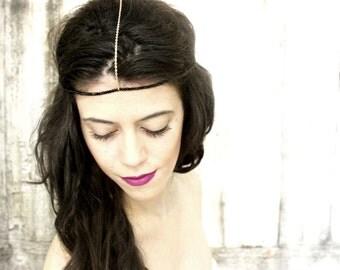 Chain Headpiece, Boho Head chain, Hair Chain Jewelry, Beaded Headband, Festival Jewelry
